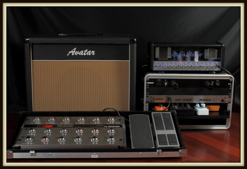 Hughes & Kettner Tubemeister 36, Rackmounted TC Electronic G-System (with Lehle Sunday Driver, MXR Phase 90 Script Logo, TC Electronic Nova Drive NDR-1, Earthquaker Devices Dispatch Master. Ernie Ball 6166, Boss FV500H, G-System Floorboard in custom built roadcase, built by David Gehring), and Custom Avatar Vintage 112 Cab (Celestion Alnico Gold)