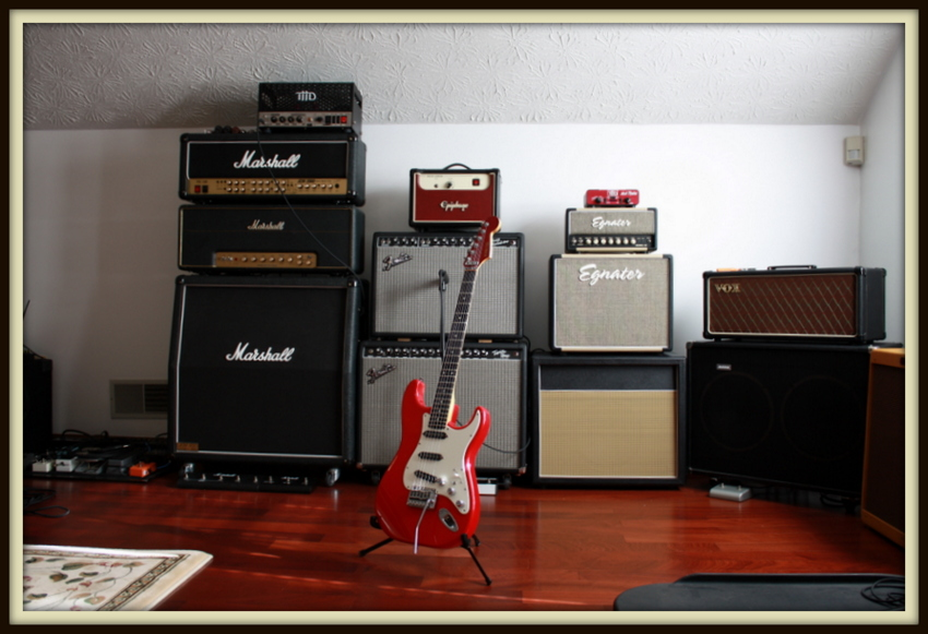 Left To Right: THD Univalve, Marshall TSL100, Custom Splawn Modded Marshall 1959SLP, Custom Marshall 1960A, Epiphone Valve Jr., Fender '65 Deluxe Reverb, Fender Pro Tube Twin Amp, Schecter Strat, THD Hot Plate, Egnater Rebel 20, Egnater Rebel 112X, Custom 1x12 Cab w/ Celestion Alnico Blue, Vox AC-30 CC, Custom Avatar 2x12, Fender '59 Bassman LTD