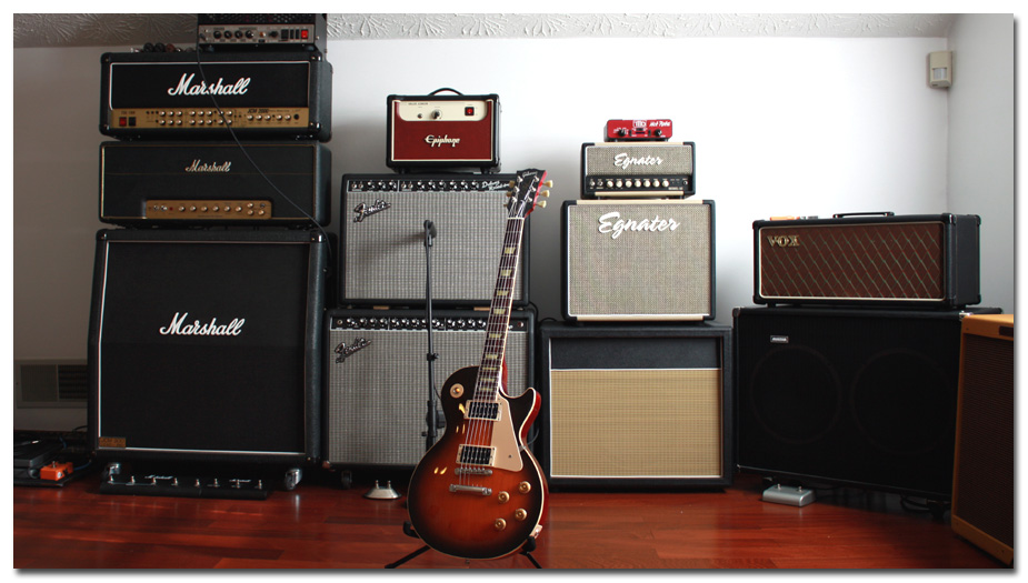 Studio 2009 - View #3 - Custom Gibson Les Paul in front of some of the tube amps