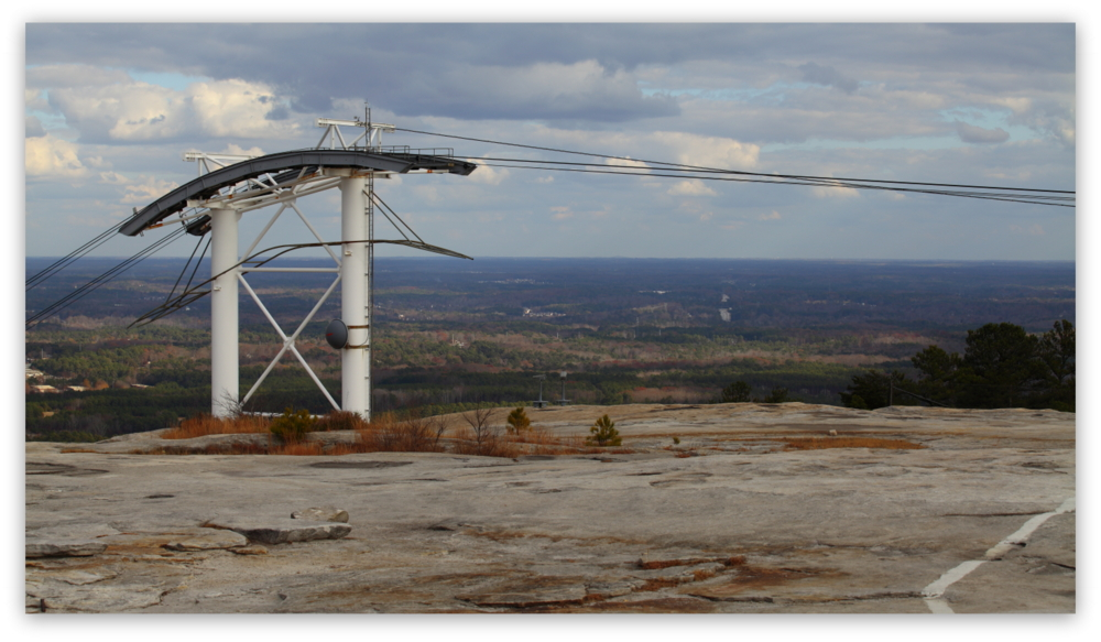 Stone Mountain Park, Dec 03, 2012 - The Summit Skyride/Skylift support structure on top of Stone Mountain