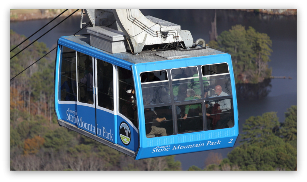 Stone Mountain Park, Dec 03, 2012 - Another photo of the blue Summit Skyride/Skylift car descending from the top of Stone Mountain